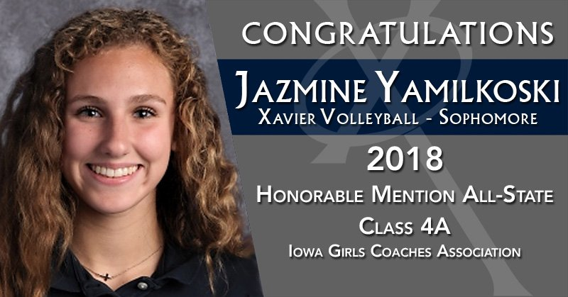 Congratulations to @XHSVolleyball sophomore, Jazmine Yamilkoski, on being selected Honorable Mention All-State in Class 4A by the Iowa Girls Coaches Association! #WeAreXavier