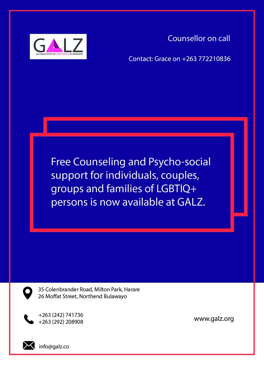 test Twitter Media - Are you questioning your sexuality? Could you be Transgender? Do you need to talk to someone about your identity? GALZ Offers counselling services for LGBTI identifying persons. Contact any of our offices or Drop-In-Centres for a session. https://t.co/ww1ta2Egcf