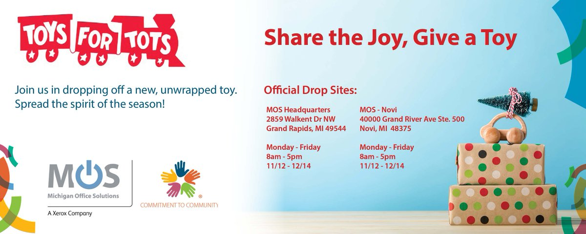 Mi Office Solutions On Twitter Mos Is Excited To Be A Toys For Tots Drop Location This Year Toysfortots Sharethejoy Giveatoy