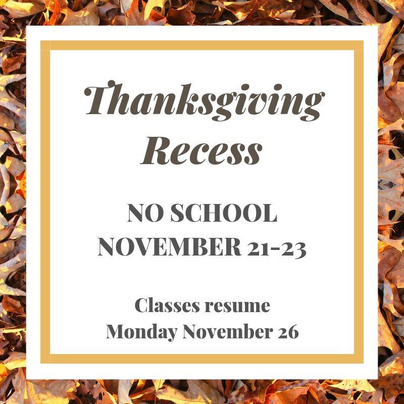 Williamsville Csd On Twitter Schools Will Be Closed Nov 21 23