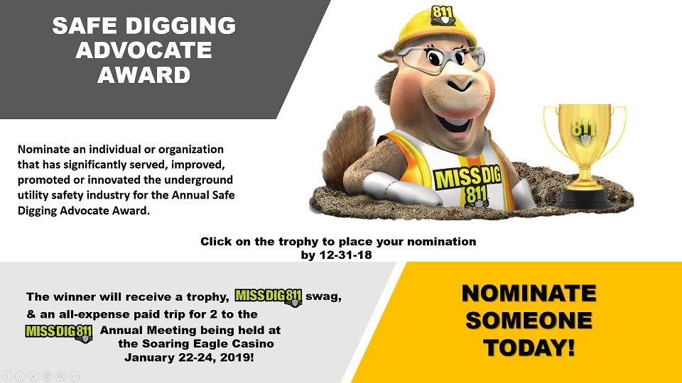The deadline for Safe Digging Advocate Award nominations is December 31, 2018.…