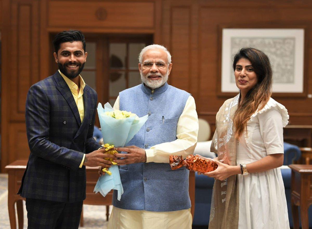 Ravindra and Rivaba Jadeja meet PM Narendra Modi in Delhi