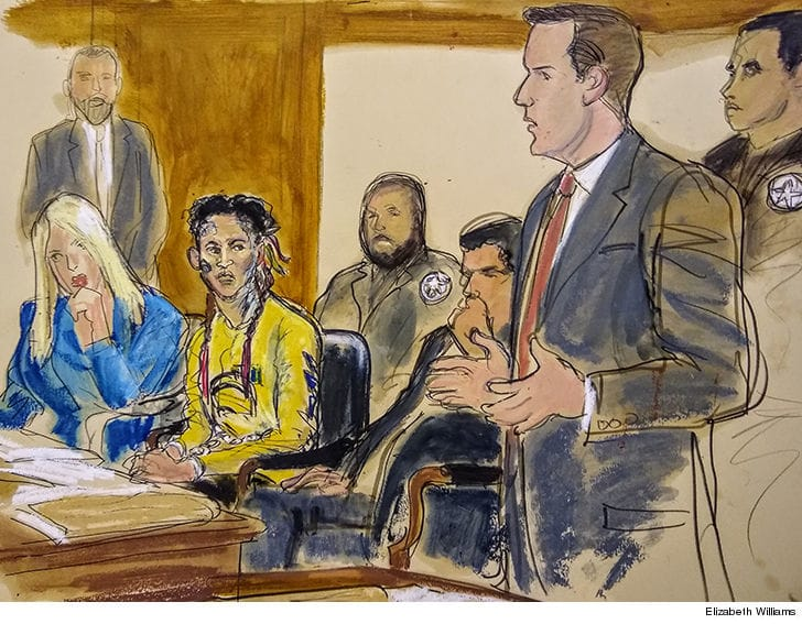 This courtroom sketch of 6ix9ine sure is something...