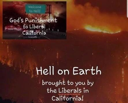 """Ohio county GOP chairman defends deleted image saying wildfires were """"God's punishment to Liberal California"""" https://t.co/IMmqjRW1EX"""
