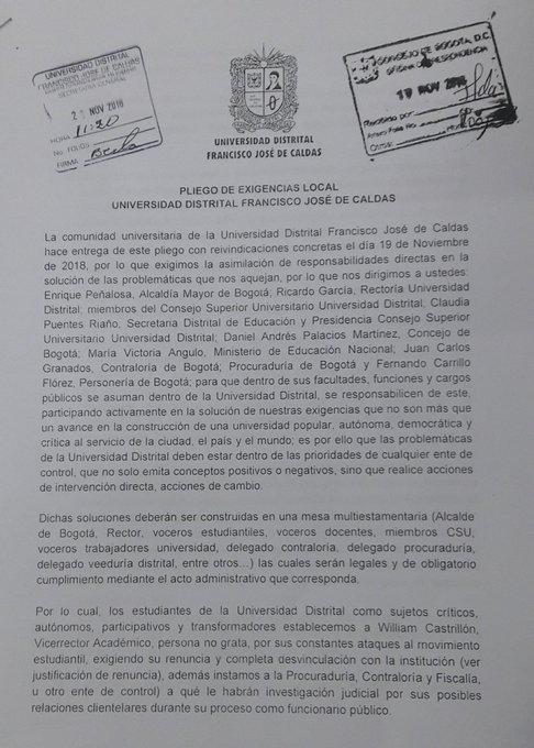 Radicado en el Concejo de Bogotá y en la rectoría el pliego de la Universidad Distrital Foto