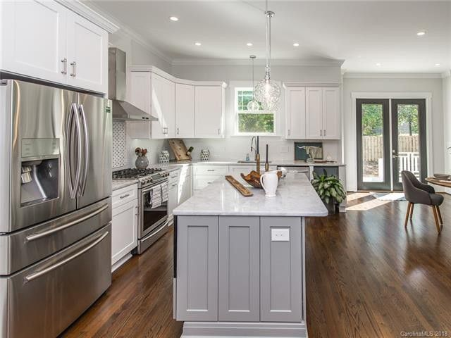 Nkbc On Twitter On Trend Mixing Your Cabinet Colors Shaker White Kitchen With A Pearl Gray Island Yes Please