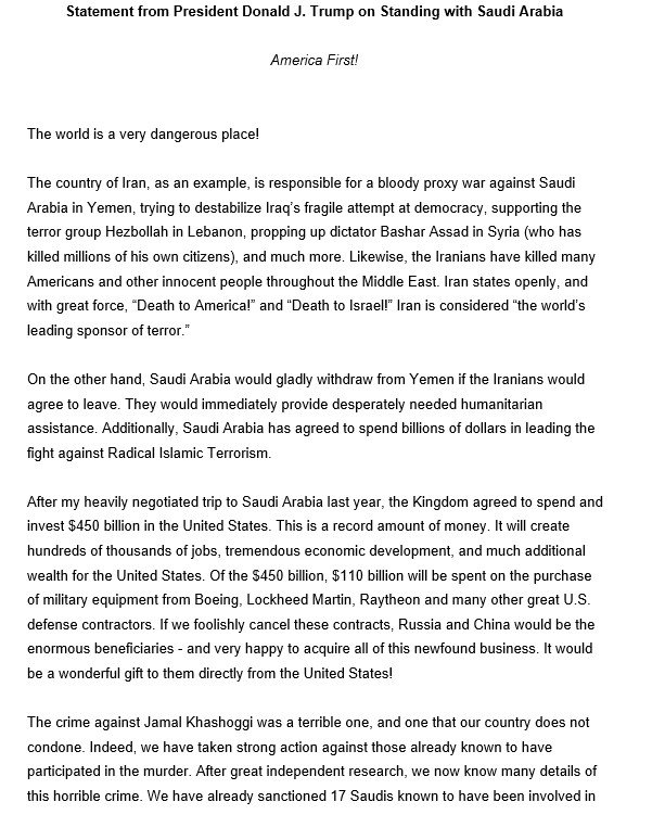 Trump has issued a very-Trumpian statement on Saudi Arabia and Khashoggi. There's a lot going on in this one.