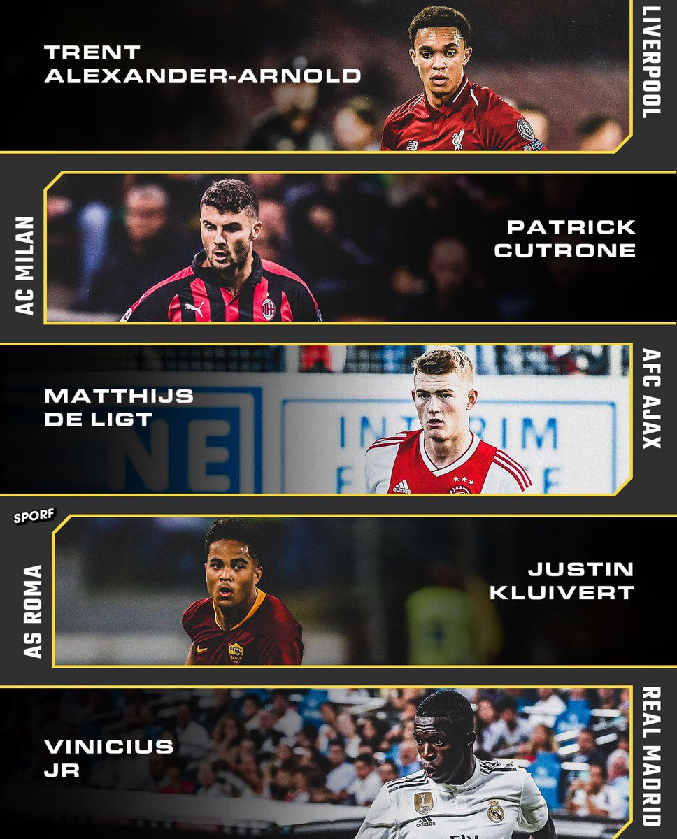 ⭐️ The nominees for the Golden Boy have been announced:  🏴󠁧󠁢󠁥󠁮󠁧󠁿 @trentaa98 🇮🇹 Patrick Cutrone 🇳🇱 Matthijs de Ligt 🇳🇱 Justin Kluivert 🇧🇷 @vini11Oficial  🏆 Who will win?