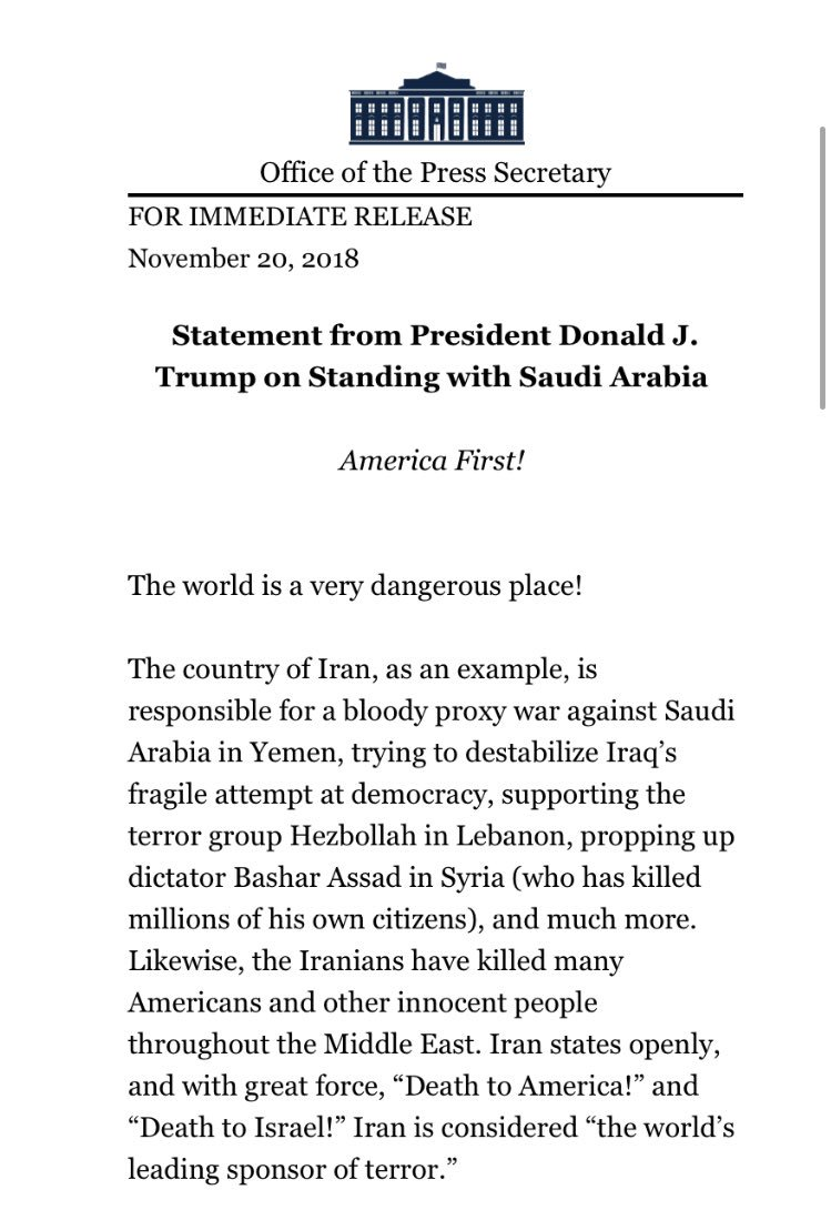 """Trump statement: """"The United States intends to remain a steadfast partner of Saudi Arabia to ensure the interests of our country, Israel and all other partners in the region."""""""