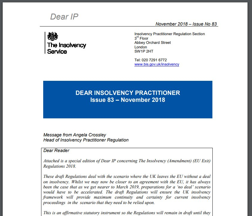 @insolvencygovuk have issued Dear IP 83 Special Edition on EU Exit Insolvency Regulations https://t.co/GR3wmLSfJ4 https://t.co/xnNKdslXTm