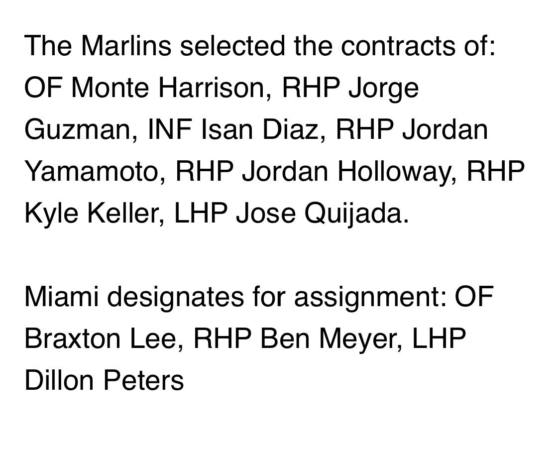 The #Marlins announce roster moves