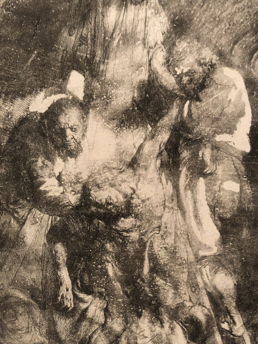Flissina On Twitter Comparison Of Details From 2 Different Plates For Rembrandt S Descent From The Cross 1633 1st Plate Only State The Wax Disintegrated During The Acid Bath Exposing The Plate S