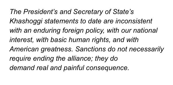 My thoughts on the President's and Secretary of State's statements on Khashoggi.   https://t.co/nzqqelUnbZ