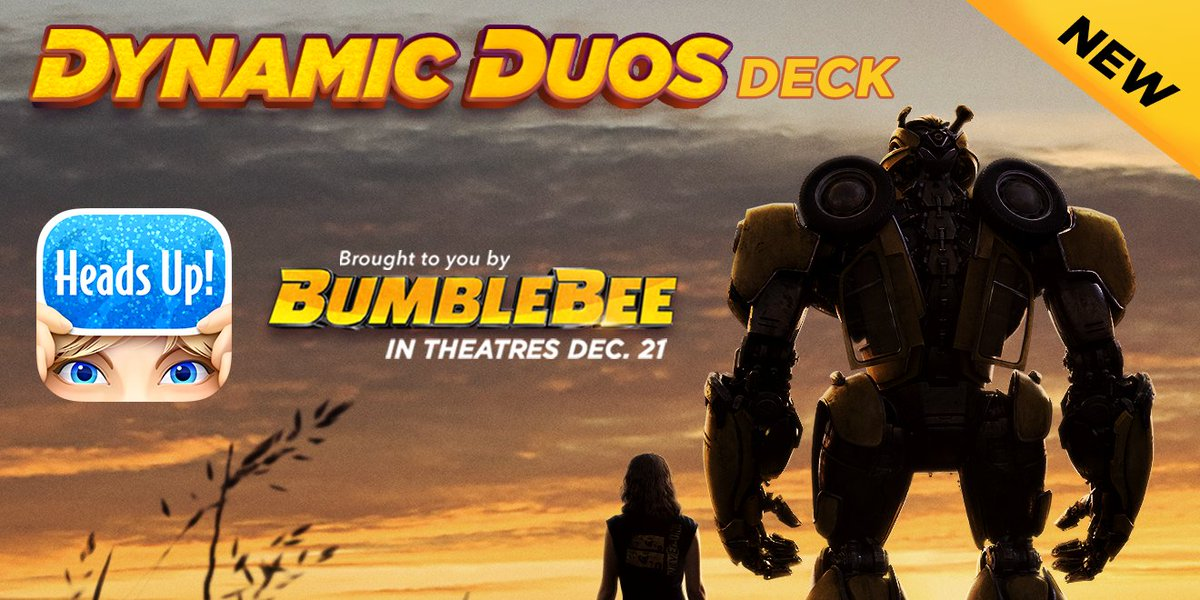 """Now you can play the """"Dynamic Duos"""" deck in @HeadsUp – thanks to the dynamic duo in the new movie """"Bumblebee."""" #ThanksSponsor http://ellen.tv/HeadsUp"""