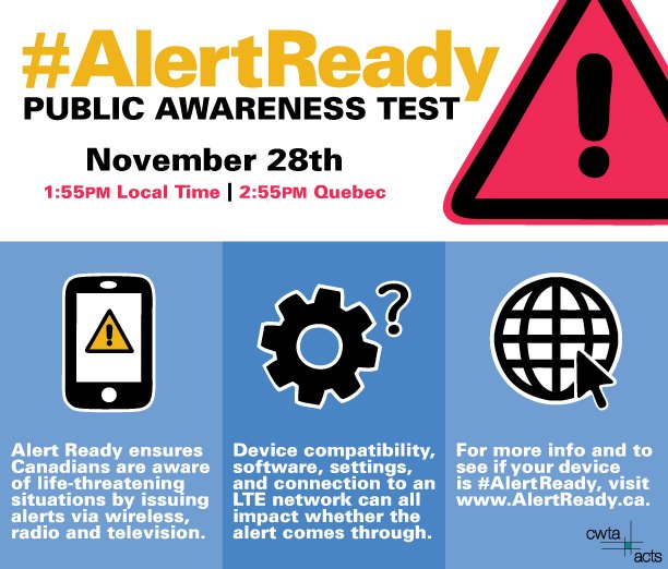 test Twitter Media - Are you #AlertReady? A test of the public alert system will occur on November 28th. Learn more at https://t.co/Dhj5aD3ObI   #CdnWireless https://t.co/2lJcgqARbA