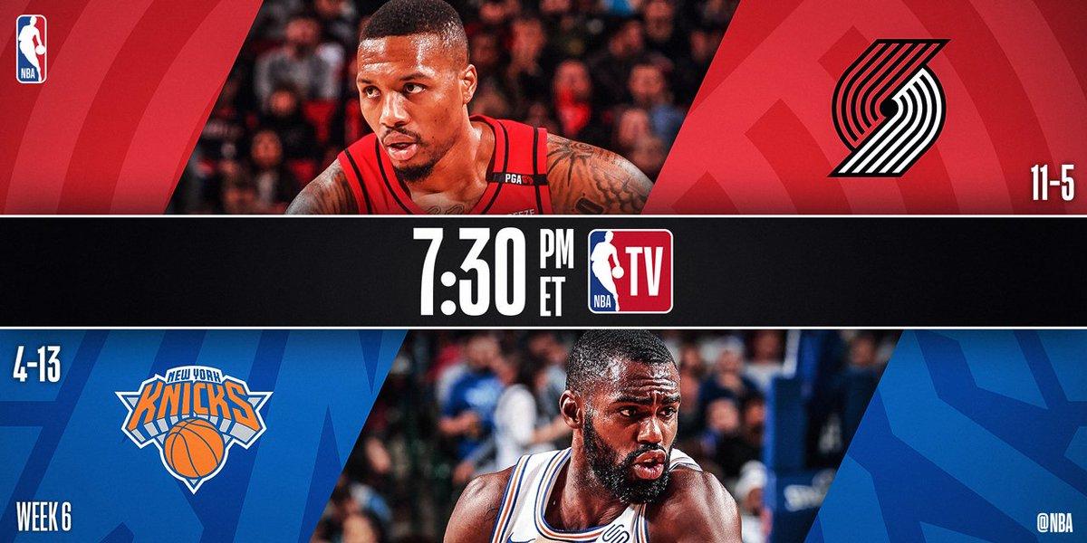 Tonight's @NBATV action features @trailblazers x @nyknicks at 7:30pm/et!