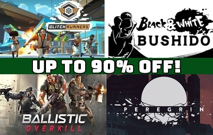 Save up to 90% during our Green Man Loaded Sale! Over 15 popular titles on sale including Ballistic Overkill, Black & White Bushido, Glitchrunners, and Peregrin. See the full sale with all discounts by visiting: https://t.co/szMc3unfm8 #GreenManLoaded #DailyDeals #Sale https://t.co/muBRoUzLpY