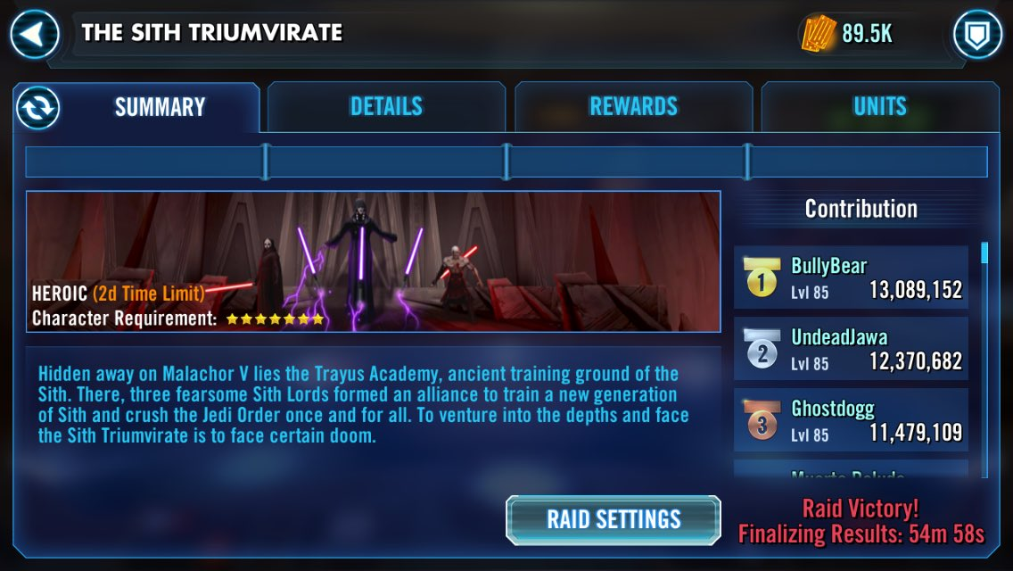 Gratz to our guild on completing our first HSTR! #SWGOH #StarWarsGalaxyofHeroes