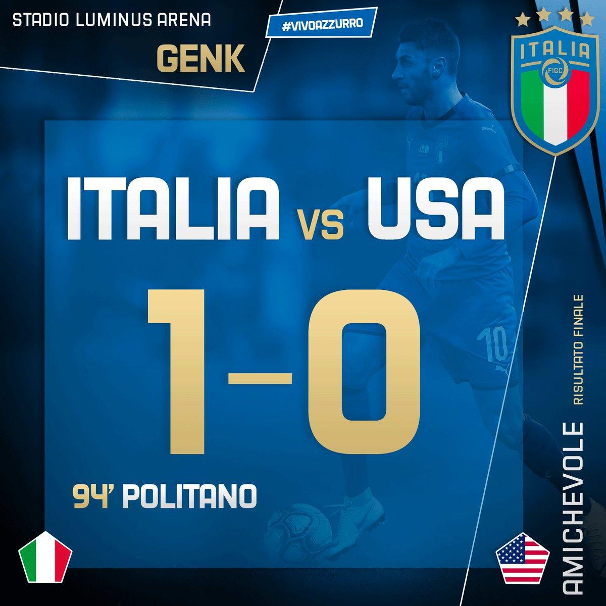 ⏱ RISULTATO FINALE 🇮🇹🇺🇸 #ItaliaUSA 1️⃣-0️⃣  Gli #Azzurri dominano l'incontro e passano nel finale con #Politano ⚽️ . #Mancini fa esordire #Grifo e #Kean.  🏟 #LuminusArena - #Genk  #ITAUSA #Nazionale #VivoAzzurro