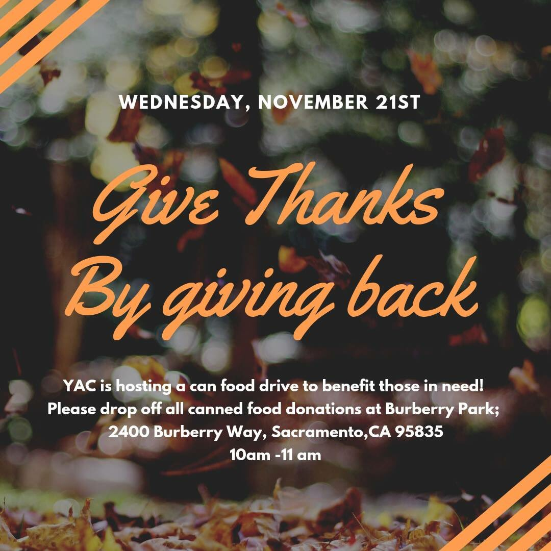 Tell your friends /// Canned Food Drive tomorrow at Burberry Park /// 10 am - 11 am /// Give Thanks by Giving Back 🦃 https://t.co/oG3aGx48hM