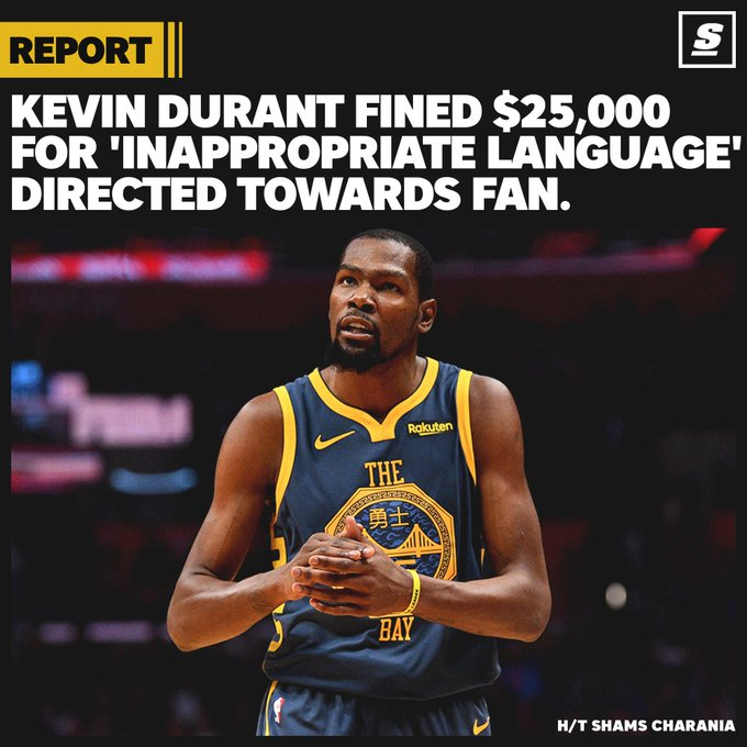 reputable site 6a226 1c8ad KD told a fan to  watch the f   ing game and shut