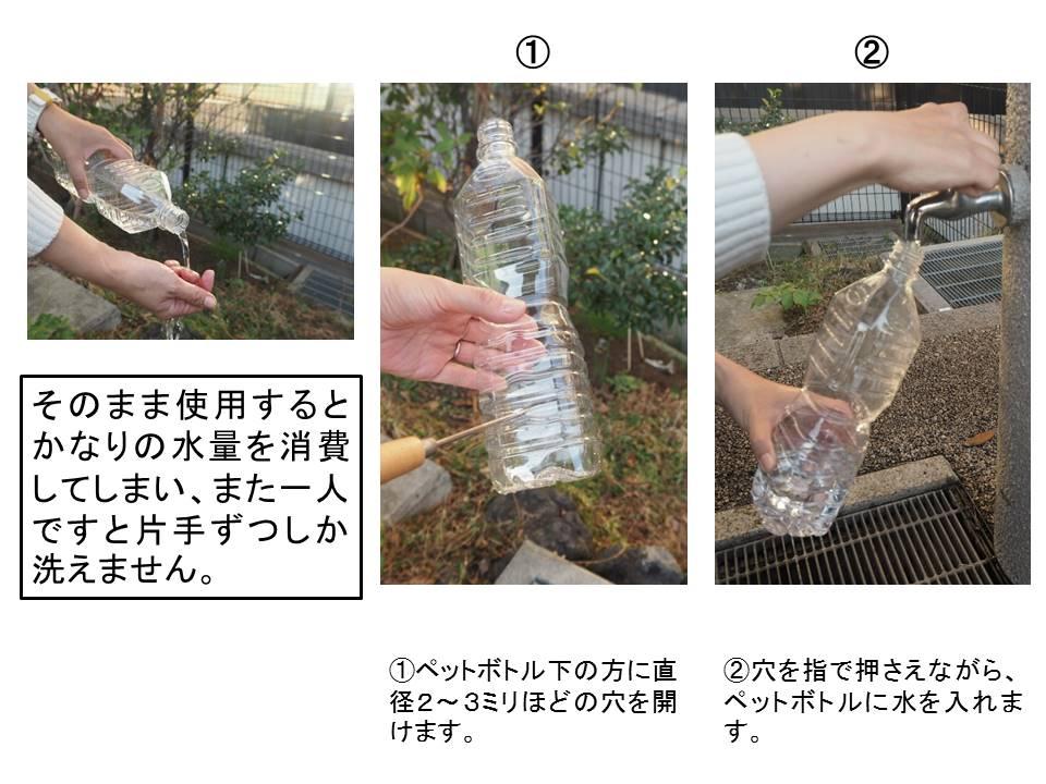 水は飲料用としてだけでなく、手や物を洗うなど生活用水としても利用されます。災害時にはより貴重なものとなります。その貴重な水を少しでも節約するために、ペットボトルで作る簡易蛇口が紹介されていたので作ってみました。簡単にできて、アウトドアなどでも利用できますので試してみてください。