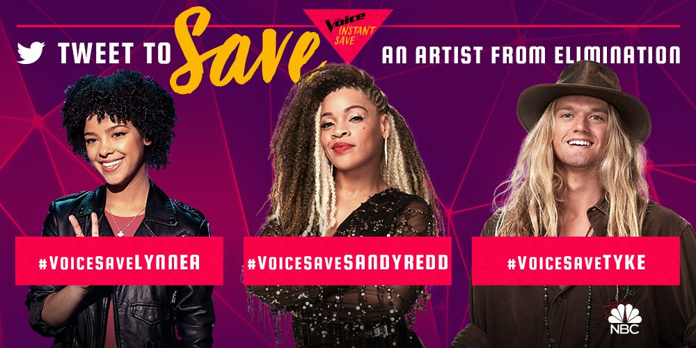 It's time for ONE artist to join the #VoiceTop11. @LynneaMoorer @SandyReddMusic and @tykejames_ are up for the #VoiceSave tonight.