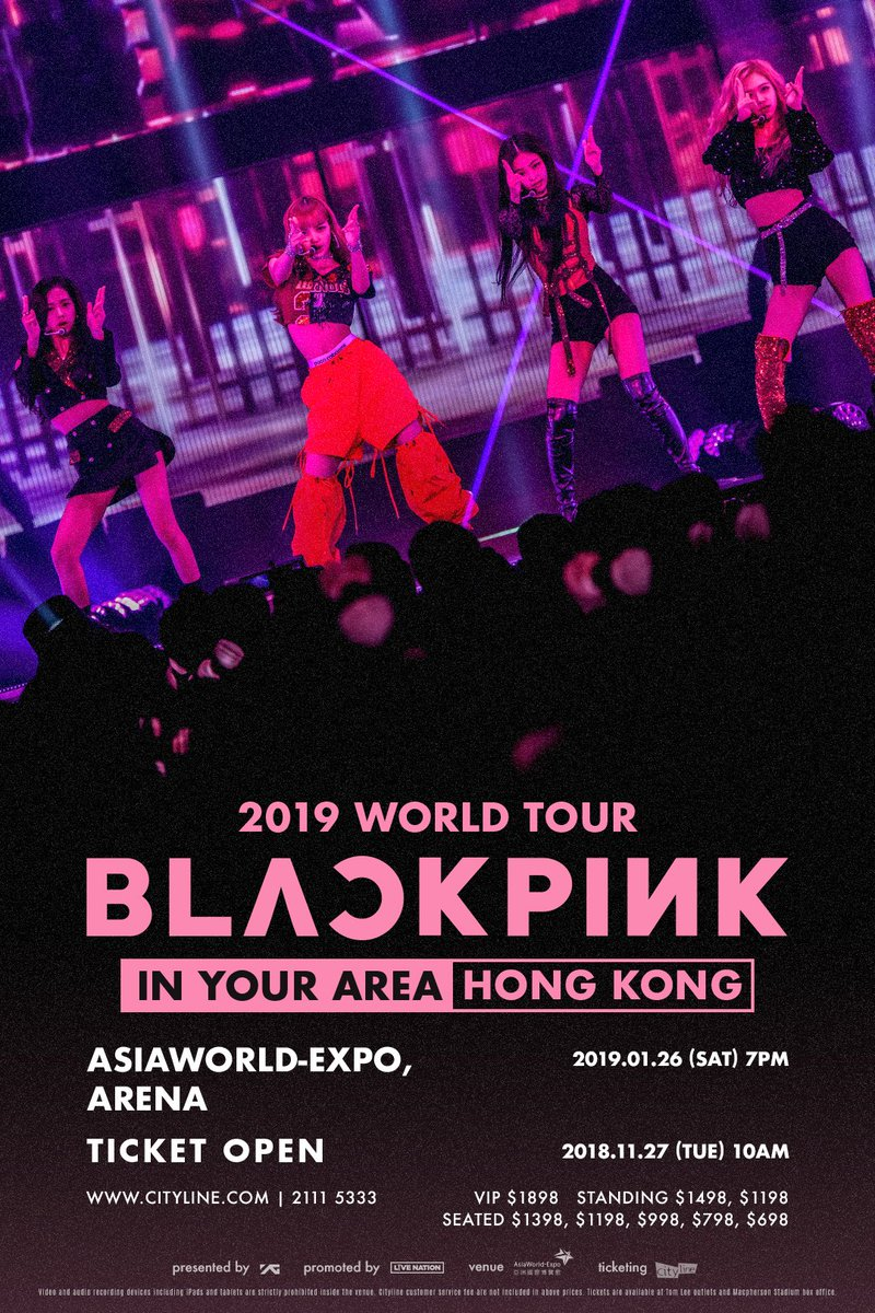 BLINKS in Hong Kong, are you ready? #BLACKPINK [IN YOUR AREA] HONG KONG Ticketing Information is now available!!  ❒ TICKETING SITE: https://t.co/8SbRaOKnVu  #블랙핑크 #BLACKPINK2019WORLDTOUR2#INYOURAREA0#INYOURAREAHONGKONG1#WORLDTOUR9#LIVENATIONW#YGORLDTOUR  HONGKONG