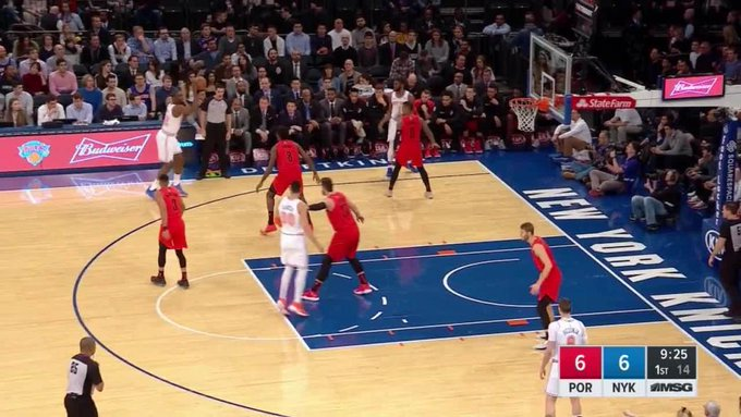 New York Knicks with 6 3-pointers in the 1st Quarter vs. Portland Trail Blazers Photo