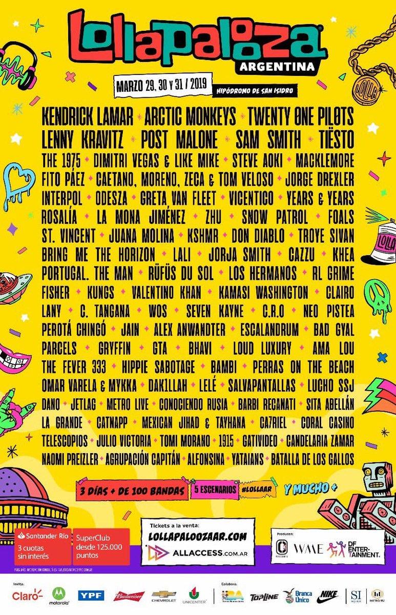 Será? Suposta line-up do Lollapalooza Argentina vaza com Kendrick Lamar, Arctic Monkeys e twenty one pilots como headliners; confira