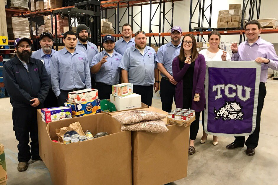 Just what exactly can 19,290 pounds of food do? Well, it can provide up to 16,075 meals for hungry #NorthTexans. #ThankYou to @TCU employees for teaming for a friendly #FoodDrive competition this month. You're true #HungerFightingHeroes!  #TCU #GoFrogs