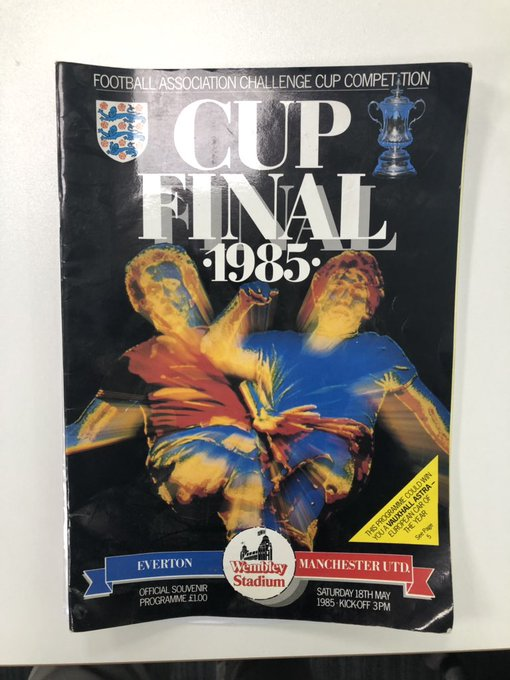 Check out this quality bit of #FACup memorabilia I found last night @ManUtd & @Everton cup final programme from 1985. What a goal it was Photo