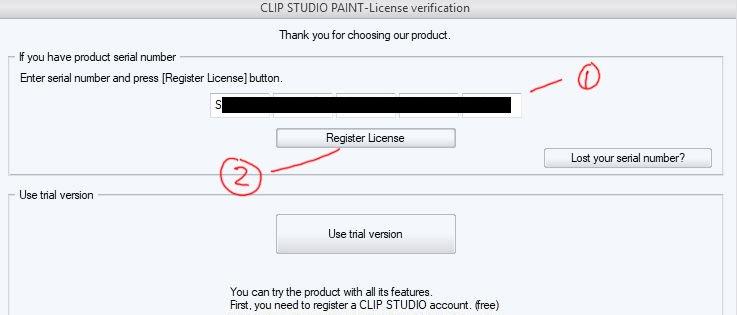 clip studio paint register license key