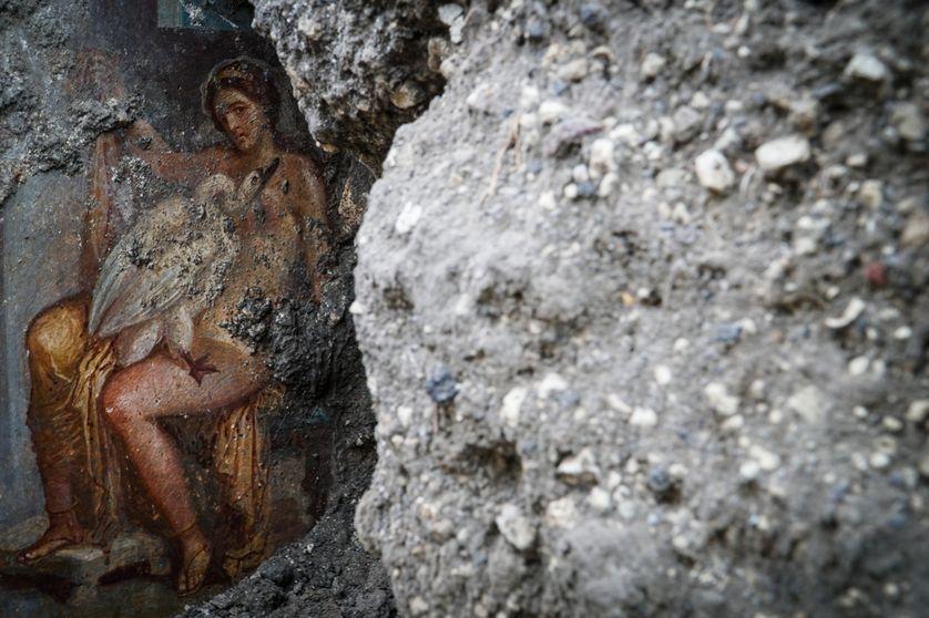 Depuis quelques mois, les découvertes s'enchaînent sous la roche volcanique de Pompéi. La dernière en date, une fresque dans une chambre, représente la reine de Sparte, Léda, et Jupiter, transformé en cygne. https://t.co/JmZYQ8a1eG