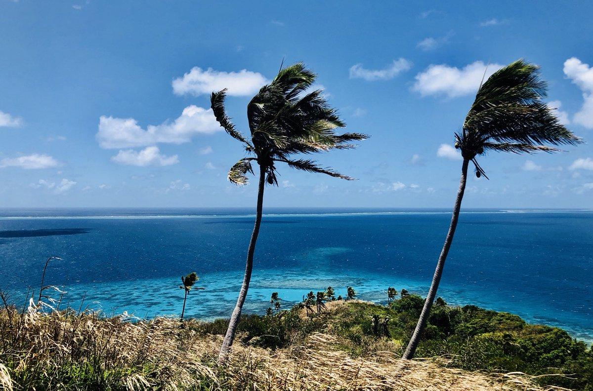 In the wind #monbureaudujour en ce mercredi sur le tournage de #kohlanta les amis. Un océan pacifique turquoise comme ça, c'est un appel à la baignade! Avec la barrière de corail en fond. Belle journée. Je vous envoie de la chaleur et du soleil en wifi😜