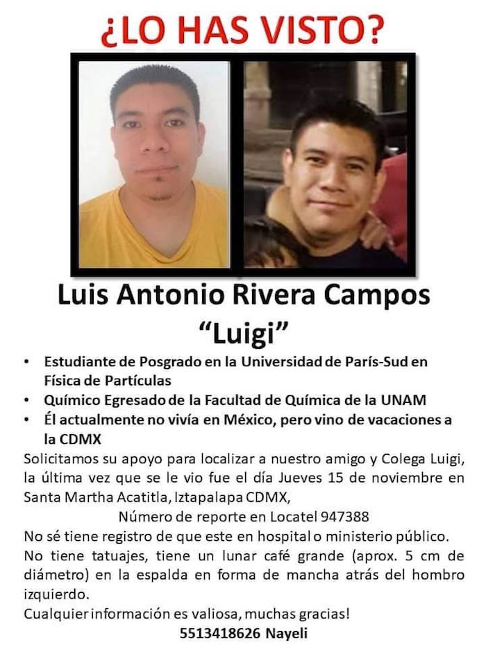 ¿Dónde está Luis Antonio? Desapareció la semana pasada en Iztapalapa, en la CdMx; sus amigos piden ayuda https://t.co/mILvV08fNb