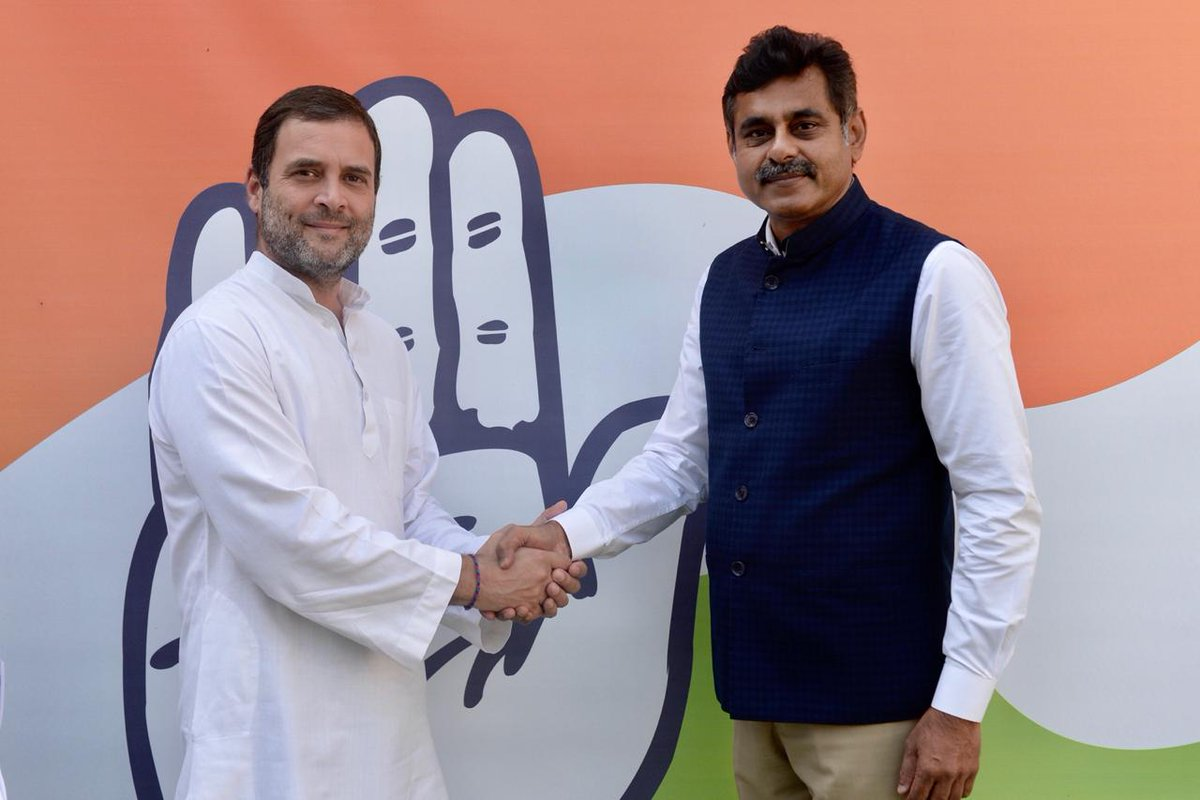 Lok Sabha member Shri K Vishweshwar Reddy who resigned from TRS had a very positive meeting with Congress President @OfficeOfRG today.