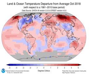 #Octobre2018 est le deuxième mois d'octobre le plus chaud jamais enregistré sur la planète : + 0,86°C par rapport à la moyenne du 20ème siècle  (c'est le 406ème mois consécutif avec une température moyenne supérieure à celle du siècle passé)