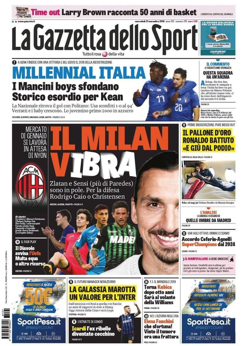 La #rassegnastampa di mercoledì #21novembre   🔴⚫ Il #Milan (v)Ibra  ⭕ Azzurri, festa al fotofinish con #Politano  🏆 #Pallonedoro, #Varane chi?   ><https://t.co/aMoEXOoeDB