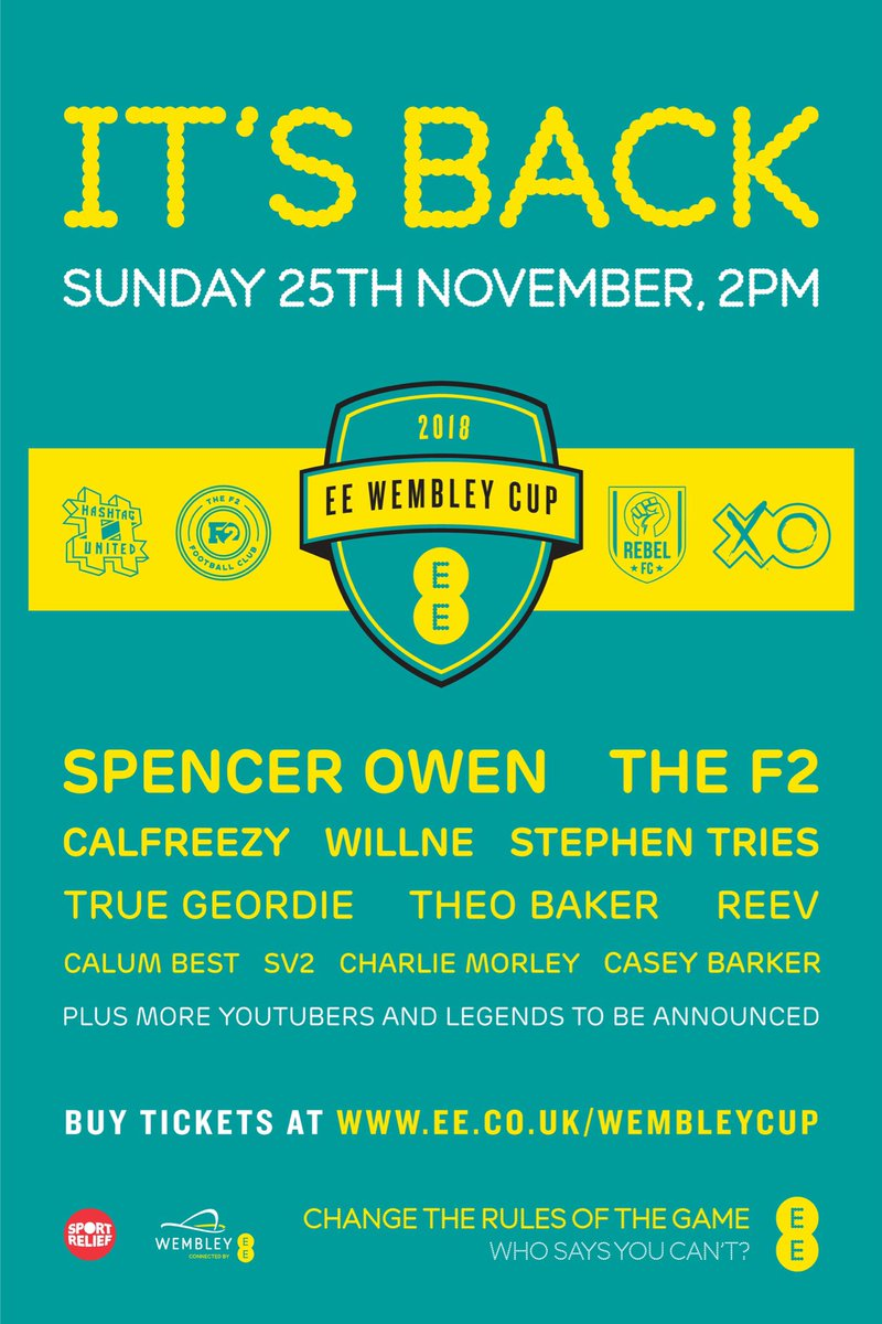 GIVEAWAY: The @EE #WembleyCup LIVE semi finals & final are THIS SUNDAY 25th November @wembleystadium.   I'm giving away 4 tickets to someone who follows me, @hashtagutd & RETWEETS this tweet!   4 huge YouTubers & 4 Legends to join the teams in tomorrow's draft episode too! 🔥