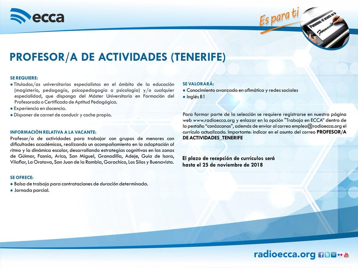 Radio Ecca On Twitter Oferta De Trabajo Tenerife Eccaesparati