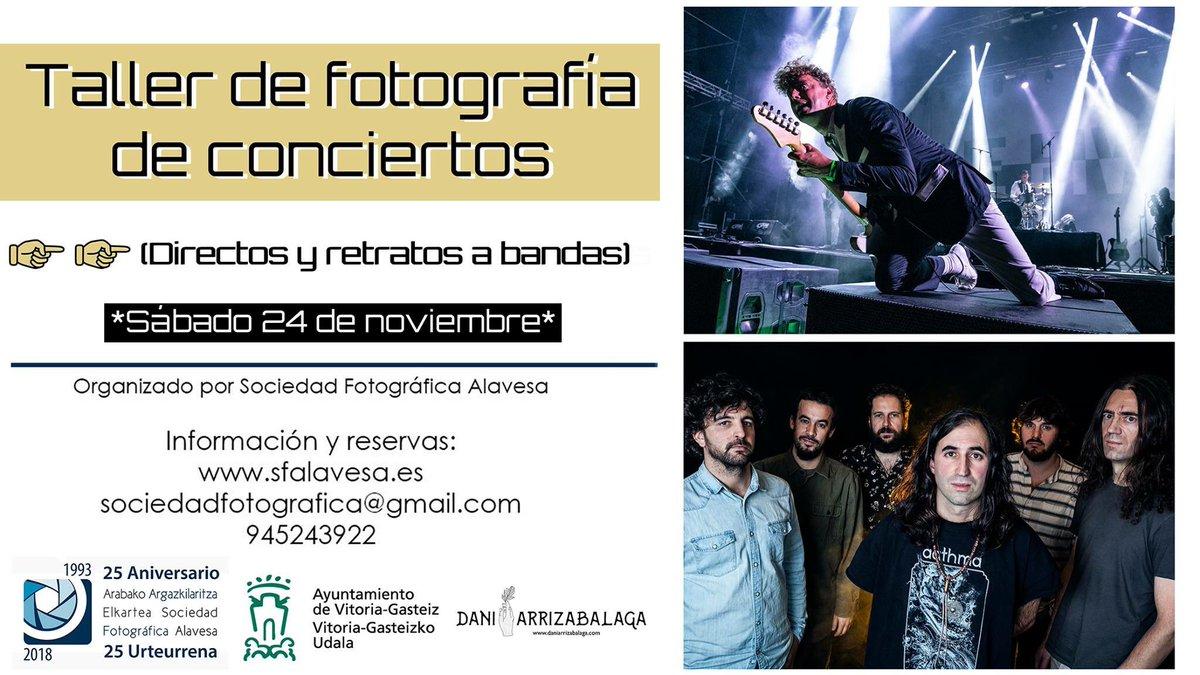 """Este sábado tenemos el taller de """"Fotografía de conciertos"""" en la Sociedad Fotográfica Alavesa / Arabako Argazkilaritza Elkartea y nos sigue quedando una plaza para llenarlo. Comparte si te parece interesante. Gracias !!! ⚡️⚡️⚡️"""