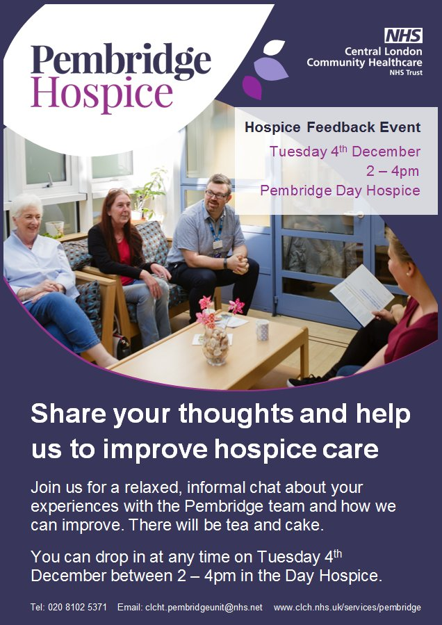 Do you have feedback to give about the care we provide or would you like to chat about your experiences with our team? If so, please join us for our regular hospice feedback event on Tuesday 4 December from 2 - 4pm on the Day Hospice. You can drop in at any time @CLCHNHSTrust