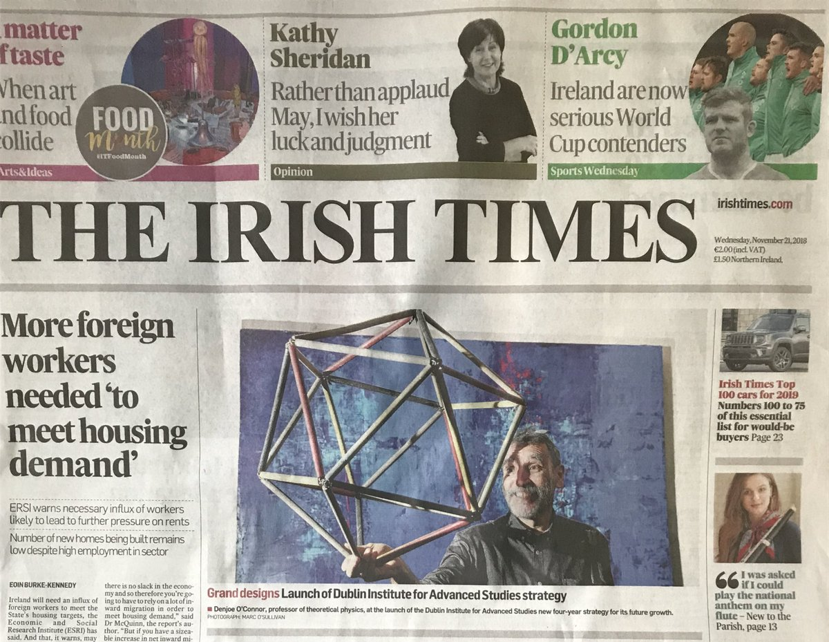 test Twitter Media - Delighted to see Denjoe O'Connor, senior professor at the @StpDias on the front page of @IrishTimes today!  Pictured at the launch of our new four-year strategy yesterday #DIASdiscovers https://t.co/cjZUc72337