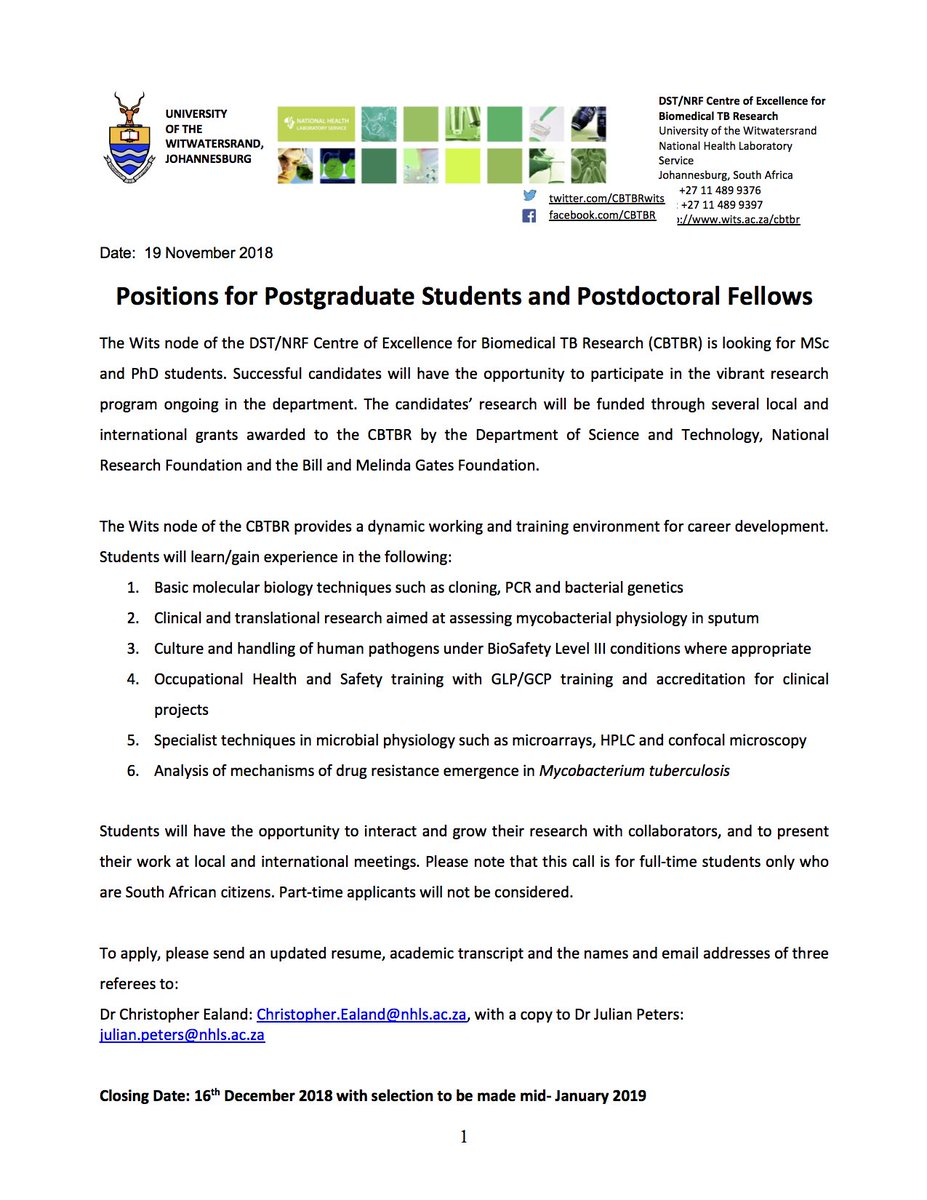 Postgraduate Student and Postdoctoral Fellow positions at CBTBR