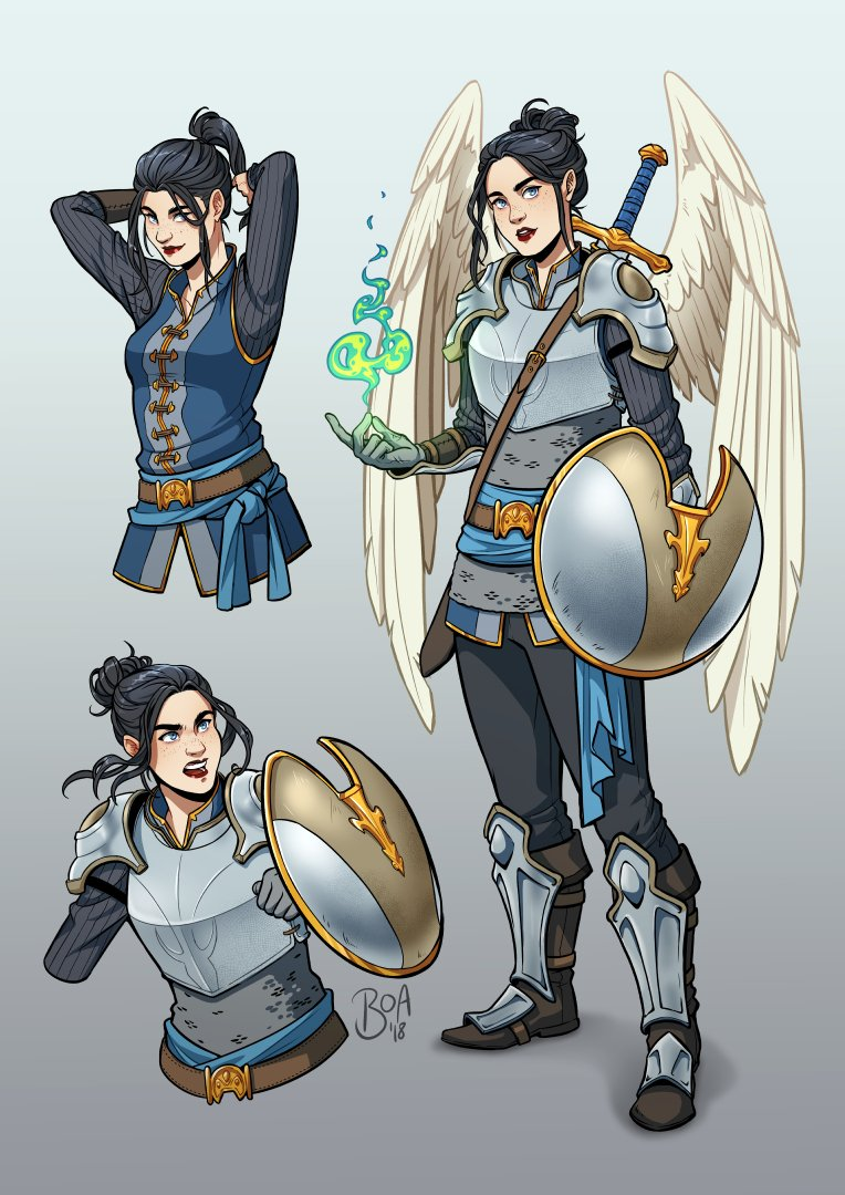 """Aasimar Sorcerer bee on twitter: """"[commission] character sheet for an aasimar"""