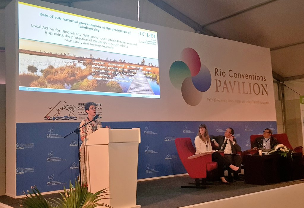 """#Wetlands are incredibly important in #SouthAfrica, they're one of the most threatened ecosystems.""  -@IngridICLEI_AS  Presenting the #LABWetlands project (funded by @USAID) to delegates at #COP14 #EgyptCOP14 @RamsarConv  More info on the project here: https://t.co/2iBPn62vkR"