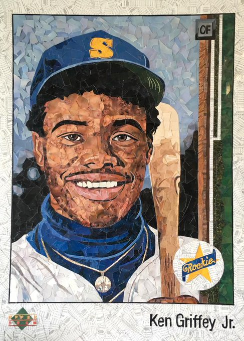 Happy Birthday, Kid!  Here is Ken Griffey Jr\s 1989 Upper Deck RC.....made from cut UD baseball commons.