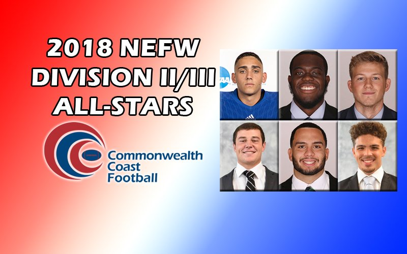 Six #CCCFB student-athletes were named Division II/III All-Stars yesterday! @ECGulls, @SalveAthletics, and @WNE_GoldenBears were all honored. The team will be honored at a banquet on Dec. 6.  http://cccathletics.com/sports/fball/2018-19/releases/2018NEFWAllStars…