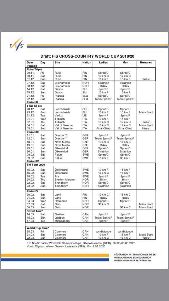 World Cup 2020 Calendar.Xc Skiing Info On Twitter Long Term World Cup Calendars Cross